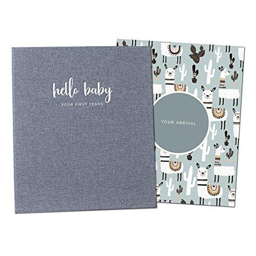 Peachly Minimalistisches Baby-Erinnerungsbuch | Baby erstes Jahr Andenken für Meilensteine | Babybücher erstes Jahr Erinnerungsbuch | Einfaches Baby Scrapbook für Jungen oder Mädchen Meilensteine | 60 Seiten graues Leinen Scandi