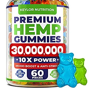 KEYLOR NUTRITION STORE Hemp Oil Calm Gummy Bears with Omega 3-6-9 - Natural, Fruits, 60 Count
