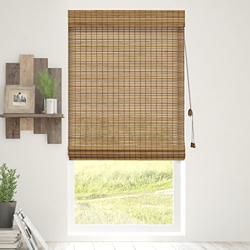 Chicology Bamboo Roman Shades / Wood Window Blind, Bamboo, Privacy - Squirrel, 31