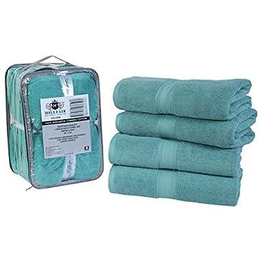 4 Pack Cotton Bath Towels set- 600 GSM 100% Combed Cotton Bath Towel Set- 28 x56  Oversized Extra Large Bath towels- Soft, Absorbent, Hotel Spa Bath Towels Set- Cotton Aqua Bath Towels Set BY HILLFAIR