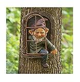 Detrade Gartenzwerge wetterfest Garten GNOME Statue, GNOME Baum Fensterharz Garten Figuren, Baum Huggers Garden Decor Wunderliche Baum Skulptur Garten Dekoration