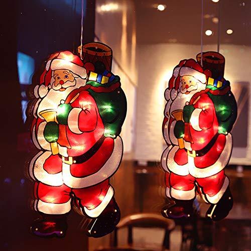 LED habitación de los niños ventana de navidad forma de luz imagen de la ventana ventosa silueta de la ventana luces navideñas con pilas deco luz para escaparate de tienda (2 piezas),Santa gift