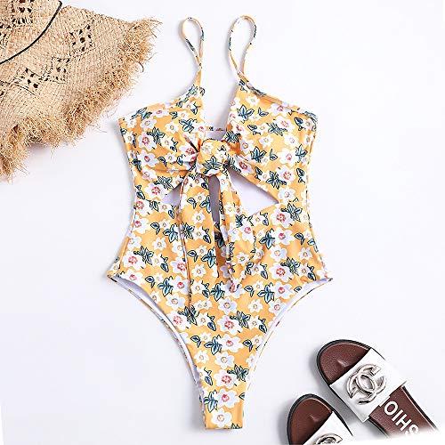 ZHUOHONG - Bikini Hawaii para Mujer con Cintura Alta Flower Pattern M