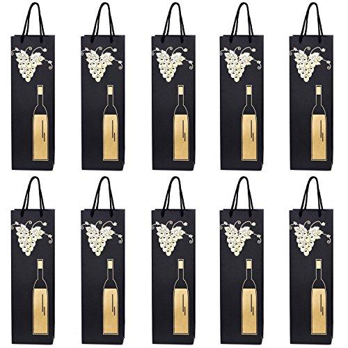 10 Flaschentüten Geschenktüten für Wein Prosecco und Champagner 40 x 12 x 9 cm Weinrebe mit Weinflasche gold