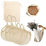Reusable Produce Bags - Durable Organic Cotton Mesh Produce Bags ECO-Friendly Grocery Bags with Tare weight, 4 Sizes 12 Packs Lightweight Machine Washable Vegetable Bags with Organizing Drawstring