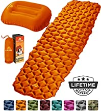 HiHiker Camping Sleeping Pad + Inflatable Travel Pillow – Ultralight Backpacking Air Mattress w/Compact Carrying Bag –Sleeping Mat for Hiking Traveling & Outdoor Activities (Orange)