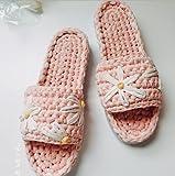JJZXLQ Zapatos de Bricolaje Ganchillo Hecho a Mano Tejer A Crochet Transpirable Cómodo Zapatillas Zapatillas Mujeres y Hombres Zapatillas de casa,Rosado,41