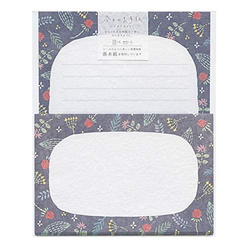 今日のお手紙 レターセット【刺繍小花】かわいい ミニレターセット 落水紙 LLL373