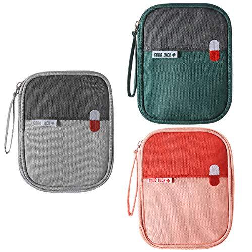 Mini Erste Hilfe Set Erste-Hilfe-Koffer Kompakt First Aid Kit Notfalltasche Medizinisch Tasche Klein Wasserdicht Tragbar für Haus Auto Camping Jagd Reisen Natur und Sport-5.5x4.3x0.8Zoll (3Stük-S)