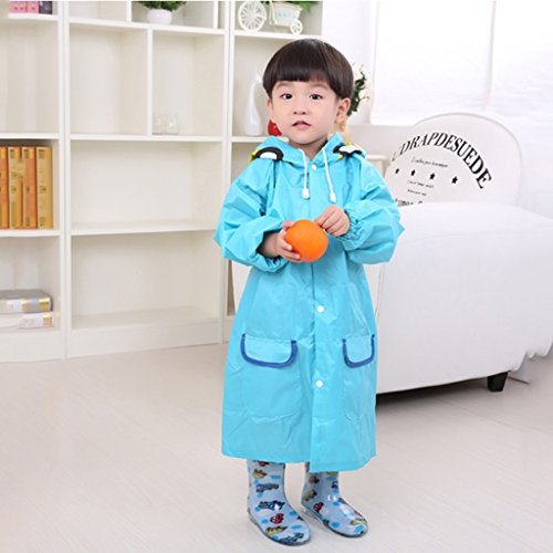 Vestes anti-pluie QFF Child Raincoat Boys and Girls Plus Gros Poncho Student Protection de l'environnement Raincoat (Couleur : Bleu, Taille : M)