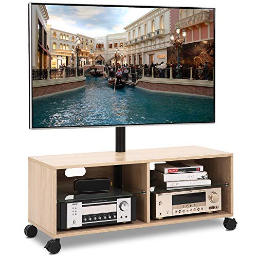 Rfiver Swivel Wood TV Stand on Wheels with Mount for 32-65 inch Flat Screen TVs, Rolling Entertainment Center with 4-Shelf Storage for Media Console, Universal Floor TV Stand Cabinet for Home, Oak