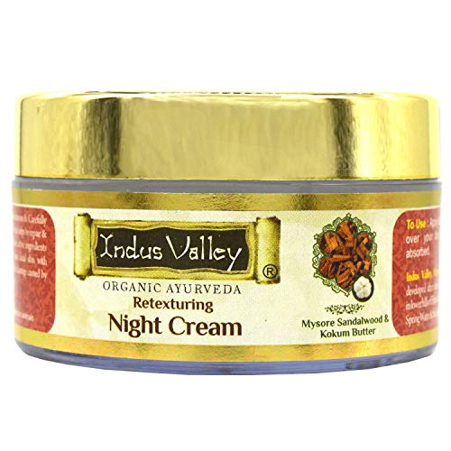 Indus Valley Organic Retexturing Night Cream with Mysore Sandalwood & Kokum Butter For Face and Skin (50ml)