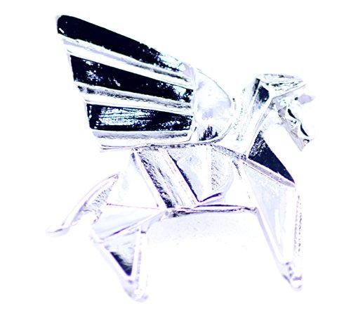 lizzyoftheflowers–Super Süsse Papier zusammenklappbar fliegendes Pferd Origami Brosche. Silber Farbige Pegasus Pin.