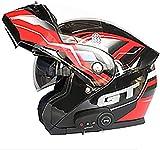 Motorbike Helmet Casco de moto con Bluetooth abatible Cascos modulares con Bluetooth para moto, Material ABS de cara completa modular aprobado por DOT Forro extraíble para hombres y mujeres adultos