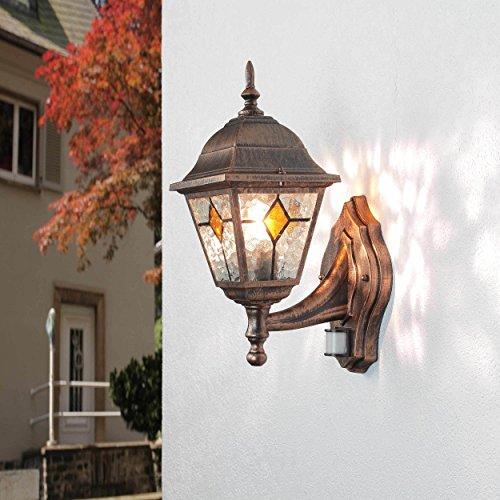 Außenleuchte mit Bewegungsmelder Kupfer Antik H:40cm E27 Sensor Beleuchtung Haus Wand Balkon Terrasse