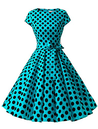 Dressystar 1956 Women Vintage Cocktail Dress 1950s Retro Rockabilly Prom Dresses Cap-Sleeve BlueBlackDot B M