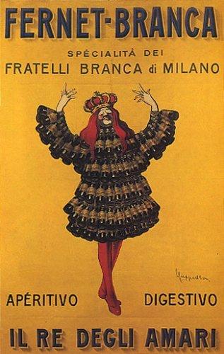 KING FERNET BRANCA BOTTLE DRESS MILANO ITALIA ITALY ITALIAN LARGE VINTAGE POSTER REPRO