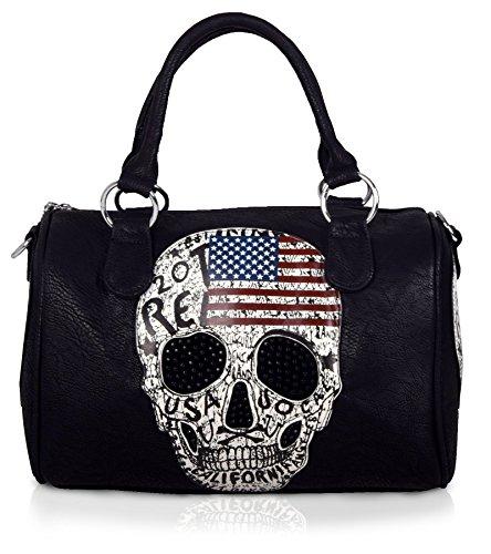 Iwea Damen Bowlingtasche Bowling Bag in Totenkopf Strass Design Handtasche in Schwarz IW073, Schwarz/T-Kopf