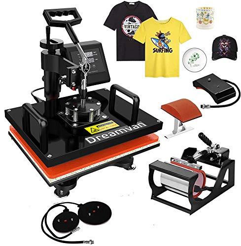 Heat Press- 5 in 1 Heat Tshirt Press Machine 12'x15'- Professional Digital Transfer Sublimation Presser for T-Shirts Mug Hat/Cap Plate (Red, 5in1 Heat Press)