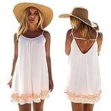 Franterd Women Mini Dress Summer Evening Party Beach Backless Skirts Sundress (XL) White