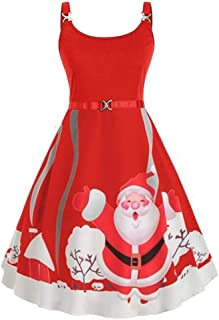 WUAI Women's Plus Size Christmas Holiday Dress Sleeveless Cami Santa Claus Patterns Flared Cocktail Party Dress