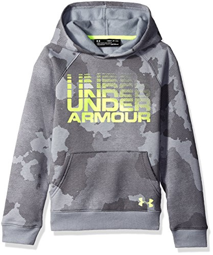 Under Armour Boys Rival Wordmark Hoodie, Steel Fade Heather, Youth Small