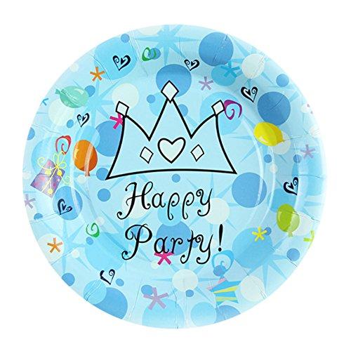 Plaques jetables en papier à motif Crown, parfait pour la fête d'anniversaire 20 pcs