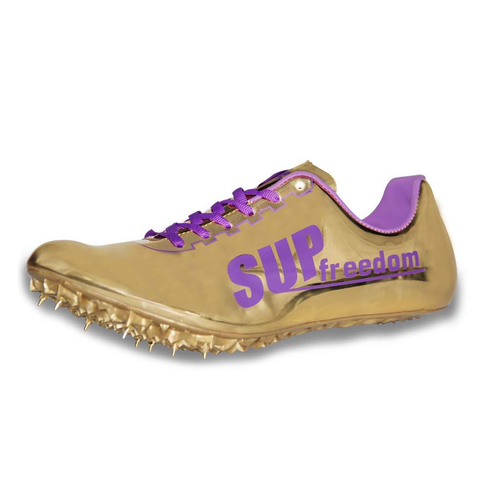 Supfreedom - Zapatillas de Pista y Campo de Microfibra para Atletismo, Carreras, Correr, Carreras, Tenis, 9.5, Dorado: Amazon.es: Deportes y aire libre