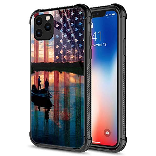 Compatible with iPhone 12 Pro Case,Fishing Red USA Flag iPhone 12 Pro Cases for Girls,Fashion Graphic Design Shockproof Anti-Scratch Drop Protection Case for Apple iPhone 12/12 Pro