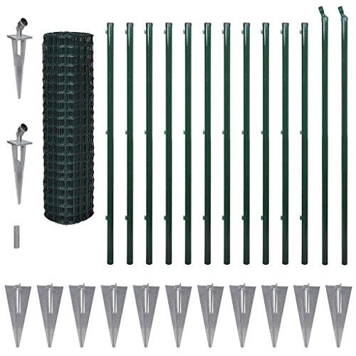 Tidyard Eurozaun-Set mit Erdnägeln, Gartenzaun Maschendraht, Stahl Grün, 25 Meter Länge, Höhe wählbar