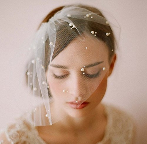 UChic 1Pcs Elegant Ivory Short Semi-masked Tulle Birdcage With Comb Accessories Bridal Pearl Wedding Veil Headwear for Bride