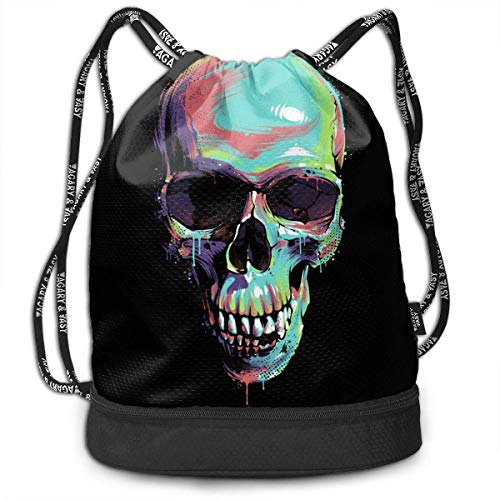 KKLDOGS Backpack Drawstring Bag Bright Graffiti Illustration Of Skull On Black Background Gym Drawstring Bags