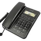 Teléfono de sobremesa, teléfono fijo con cable para el hogar/hotel/oficina, volumen de timbre y altavoz adjuatale volumen, función de retención, dentificación de llamadas, negro