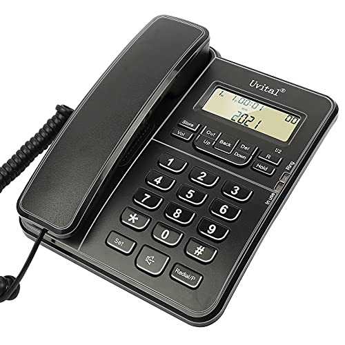 Desktop Corded Telephone, Wired Phone for Hotel/Office Support Incoming Call Filtering, Business Landline with Ringer Volume and Speakerphone Volume Adjuatale, Hold Function, Caller Dentification