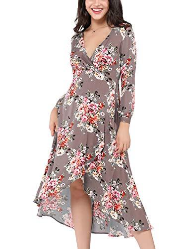 Azalosie Wrap Maxi Dress Floral Short Sleeve Tie Flowy Front Slit Boho Dress Party Wedding Beach White
