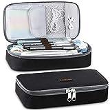Homecube Federmäppchen,große Kapazität Mäppchen Stifthalter Praktische Studenten Schreibwaren mit zwei Reißverschlüssen Langlebig(Schwarz)