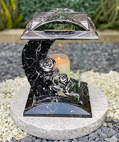 Grablampe Handmade NEU mit Rose Motiv Marmor Grablicht Grabkerze Grabdekoration Grabschmuck Gartenlampe incl.Grabkerze
