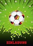 6-er Set Fussball-Einladungskarten (Nr. 10692-Hochformat) zum Kindergeburtstag oder zur Fußball-Party / Sportfest - Die Einladungen zum Geburtstag sind für Mädchen und Jungen geeignet