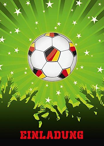 6-er Set Fussball-Einladungskarten (Nr. 10692-Hochformat) zum Kindergeburtstag oder zur Fußball-Party/Sportfest - Die Einladungen zum Geburtstag sind für Mädchen und Jungen geeignet