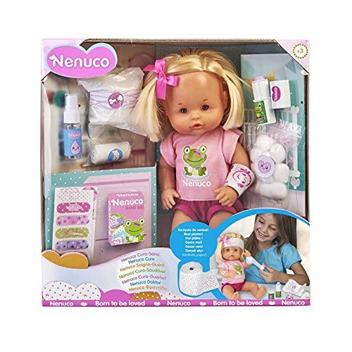 Nenuco - Cura Sana, muñeca para Jugar a los médicos con tu bebé, con tiritas de Colores y el Kit...