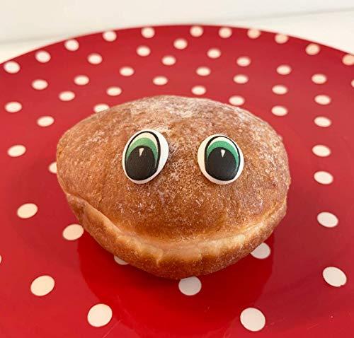 24 fabulosos ojos de azúcar comestibles - 6 azules, 6 marrón, 6 amarillos y 6 ojos verdes