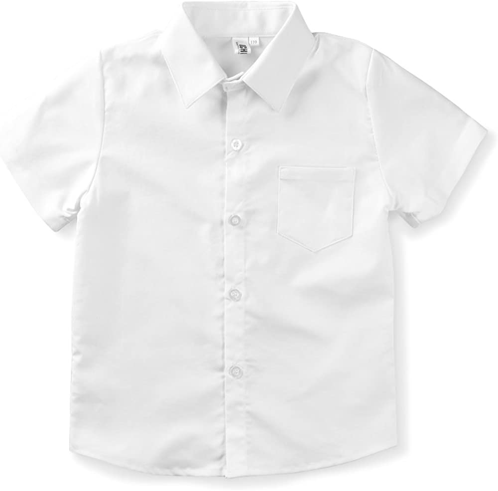 Little Big Boys' Short Sleeve Button Down Cotton Shirt Casual Dress Top White Tag 160CM - 9-10Years