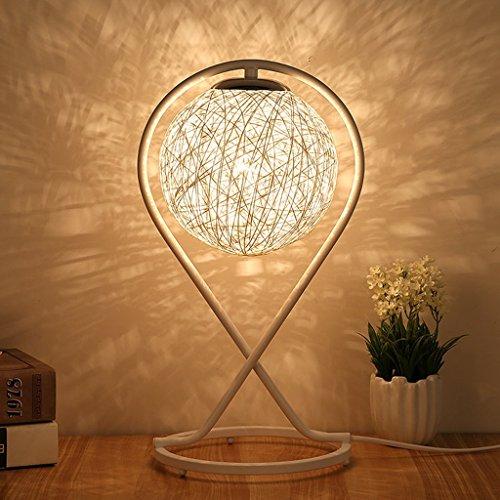 ZfgG Lampe de table Lampe de chevet Simple Moderne Romantique Romantique Art Ball Abat-jour - Chambre Salon Décoration Cadeau Lampe De Table E27-Bouton Switch (Couleur : Blanc)