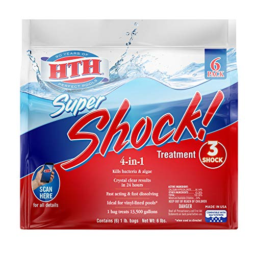 HTH 52023 Super Shock Treatment Swimming Pool Chlorine Cleaner 1 lb Pack of 6