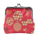Monedero de piel sintética con patrón japonés, color rojo, estilo vintage, para mujeres, niñas, adolescentes y niños