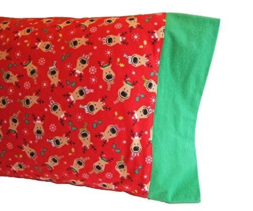 Christmas Pillowcases Flannel, REINDEER Pillow Case, Christmas Pillow Cases for Kids, Standard Size Pillowcase