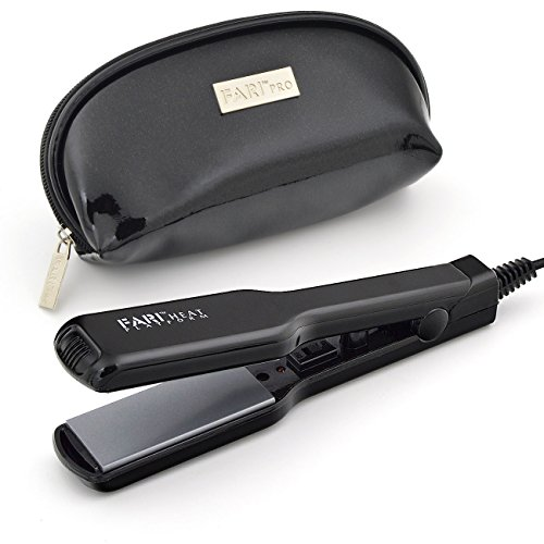 FARI - Mini plancha de pelo de cerámica turmalina para viajes, con bolsa de viaje, tensión universal, color negro (placa de 1,3 cm)