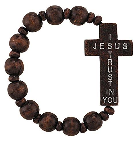 Jesús Confío en ti Sideways Cruz Pulsera de madera elástico Rosay, 71/2pulgadas