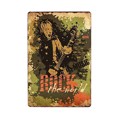 Jinlyp Cartel de Chapa de música Rock clásica, Cartel de Placa de Metal de Guitarra folklórica, decoración de Garaje de Club de Bar, Placa de Metal 20x30cm 15