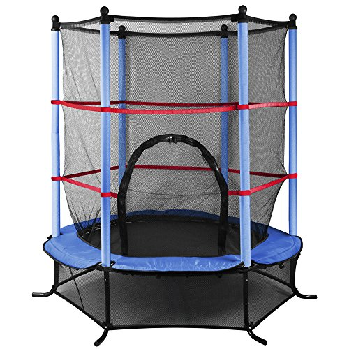Beyondfashion 55 Inch 4.5FT Blue/Pink/Green Trampoline Junior Kids Outdoor Activity Fun With Safety Net (A-Blue)<br/>